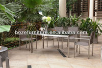 Patio stainless steel table and chair made in China