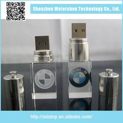 8GB Top quality crystal glass led light usb flash drive
