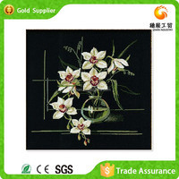 Diy Mosaic Of Resin Diamond White Orchid Drawing Of Flower Oil Painting