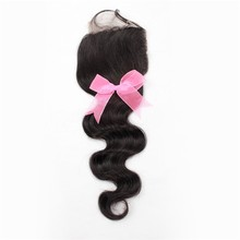 "Carina Hair Products Top Grade Body Wave Indian Hair 3 Way Part Closure Whloesale 16"" Silk Base Lace Closure"