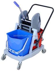 34L reversible handle squeeze water wheel with double bucket