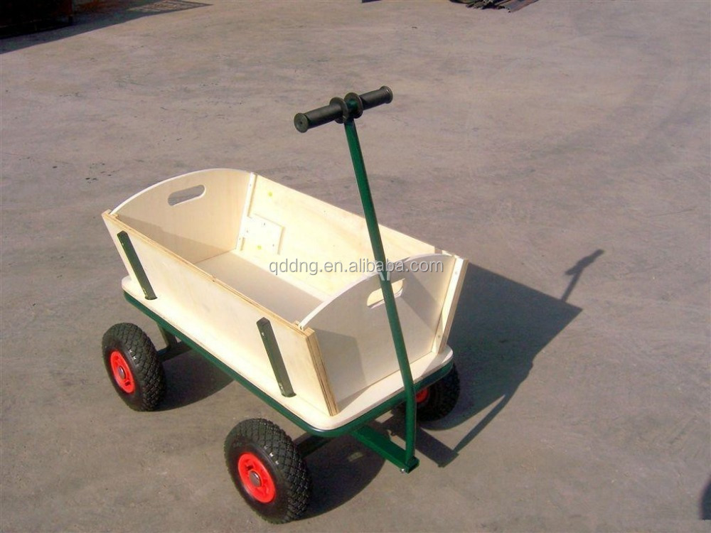 Four Wheeler Pulling Wagon : Four wheel kids wagon with canopy wood pull cart