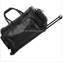 """pu Leather 21"""" Folding Trolley Duffle Bag, Rolling Carry On Luggage Tote Suitcase"""