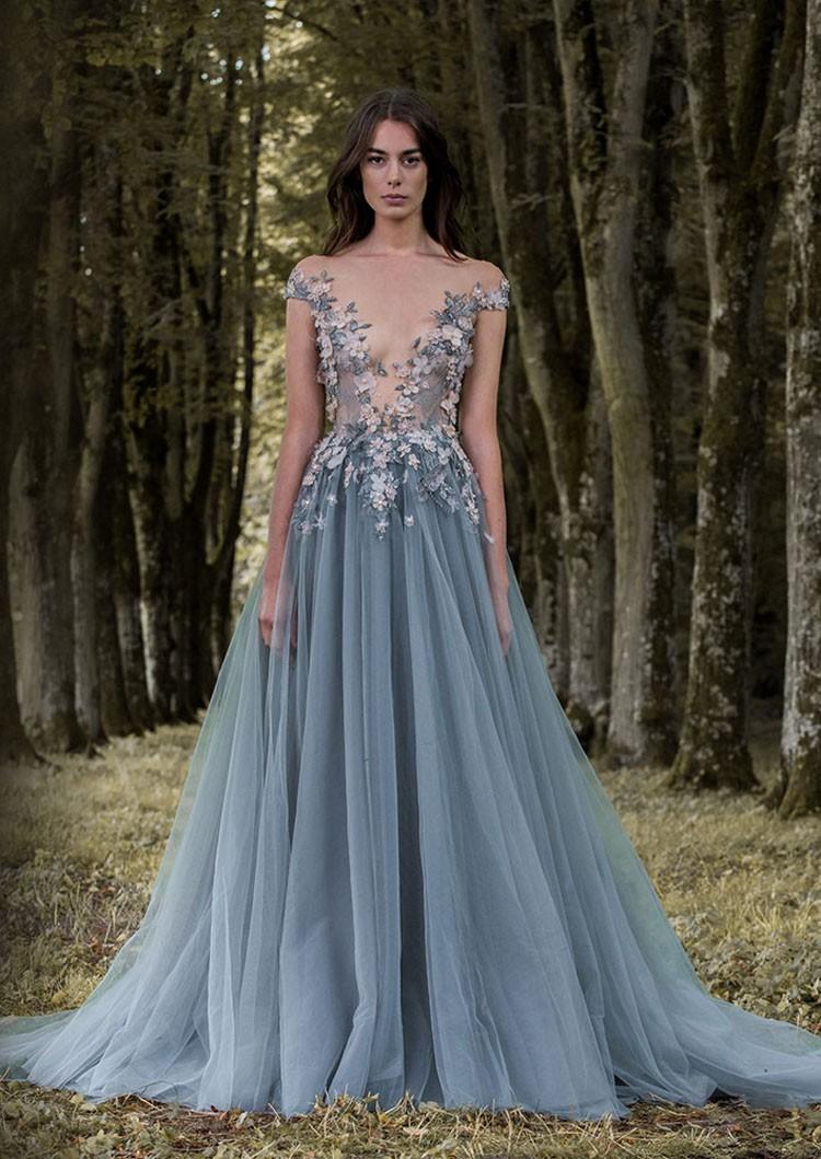 Flower Grey Blue Evening Dresses Latex Lao Lily Wedding Dress - Buy ...