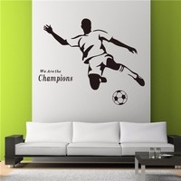 Removeable PVC vinyl wall sticker football palyer wall decal art home decor(ZY8257)