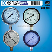 different types of pressure gauge manufacturer supplier with ISO9001 EN837-1 CE certificate