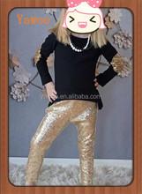 hotsale bulk wholesale clothing sets baby girls sparkle clothing black tee w children gold sparkle tights sets