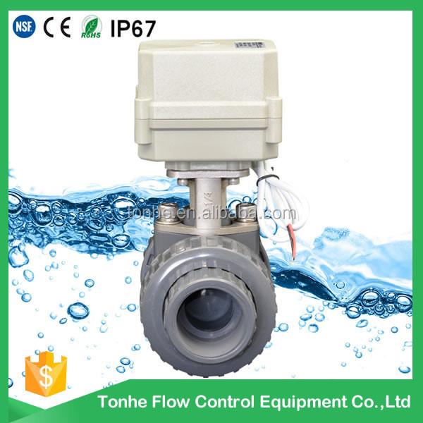 DN20 2-way 12v 24v plastic motorized electric valve pvc