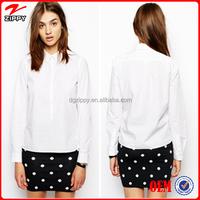 2015 New ladies white shirt ladies office wear blouse shirt formal shirt design for women