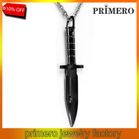 PRIMERO very high quality damascus new Fashion Dagger black chain Men's gold plated Stainless Steel knife pendant Necklace