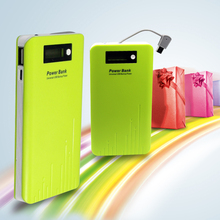 FREE SAMPLES ! slim power bank 8000mah with LCD built in cable