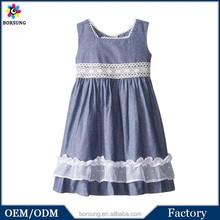 Moda fábrica OEM vestido de la muchacha diseños poco Girls ' de cambray arco vestido trasero
