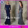 NN18 Elegant Bateau Neckline Floor Length Navy Lace Long Sleeve Mother Of The Bride Dress