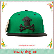 any color washed cutton snapback cap and hat with 3D embroidery and flat brim for youth