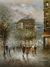 Palette knife painting Venice city scenery pictures