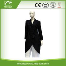 fashion black polyester women belt trench coat/overcoat supplier