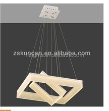 Double square led pendant hanging lamp chandelier lights for hotel office home