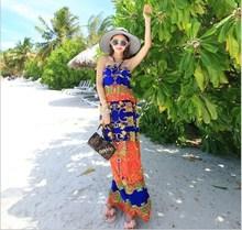 impreso de verano de bohemia vacaciones en la playa de la leche de seda vestido halter