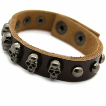 New trends 2016 antique bronze skull bead brown leather wide leather bracelet