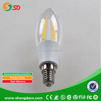 360 degree C35 candle 2w 4W E14 super bright led filament bulb led lighting