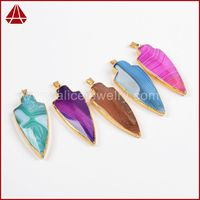 Faceted gemstone agate pendant,colorful arrowhead gemstone pendant,gemstone jewellery