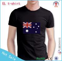 custom flashing el t shirt/wholesale led music light t shirt/equalizer led t-shirt