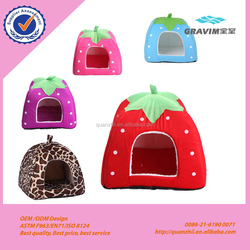 Promotional cute colorful fruit strawberry and leopard printed pet house pet bed