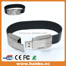 Fashion gift leather waterproof usb bracelet