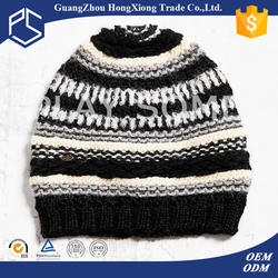Promotional two stones striped slouchy knit ski hats pattern for women