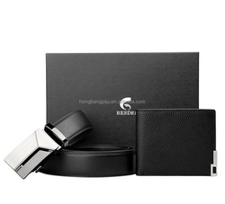 Hot sale Mens fashion leather men wallet and belt promotion gift set