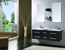 Free customized Italian Style Modern Solid Wood Oak Mini Bathroom Vanity Combo Bathroom Cabinet