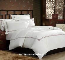 luxury 5 star 100% cotton 6 pcs bedding set white embroidery hotel bedding linen