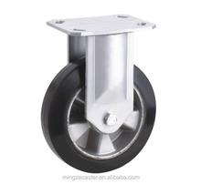 10 inch black elastic rubber fixed caster wheel