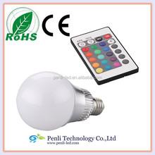 9W E27 LED variable led lamp light, Flash 16 Color 230V RGB LED bulb with remote control