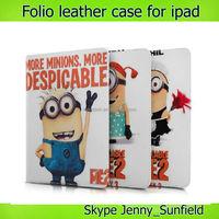 Tablet case cover Despicable Me Minions folio leather case for Ipad 2 3 4, for ipad case folio leather