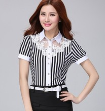 D16595A 2015 women short sleeve blouse , striped blouse for office lady