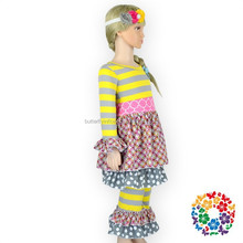 Adorable 2015 Fall Long Sleeve Vintage Children Clothing Wholesale Ruffle Pant Set Toddler Girl Outfits