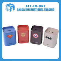 cute colorful cartoon characters square tin money saving box