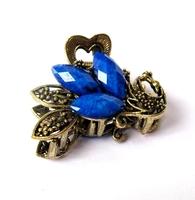 Elegant Crystal Rhinestones Shy Peacock Hair Claw Clip
