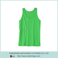Customized Classical Designed Pima Cotton Man's Tank Tops In Green Color