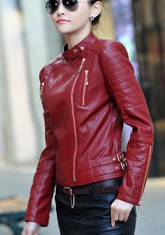 Women Red Leather Jacket - Jacket
