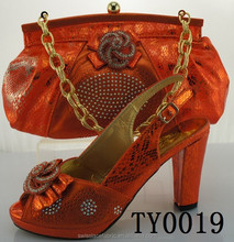 TY0019 High quality ladies matching shoes and bags set/Orange sexy high heel shoes 12 cm high heel shoes and matching bags