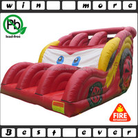 inflatable red car double lane slide, wonderful car slide inflatable for kids play