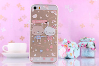 3D relief printing Cute bear fresh waterproof mobile phone case cover for iphone 5 5S