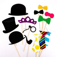 customized accessory paper party photo booth props,paper crown/hat/pipe/blow tie