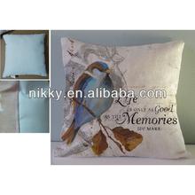 Cute bird design square pillow, 100% polyester pillow case, pillow for sofa
