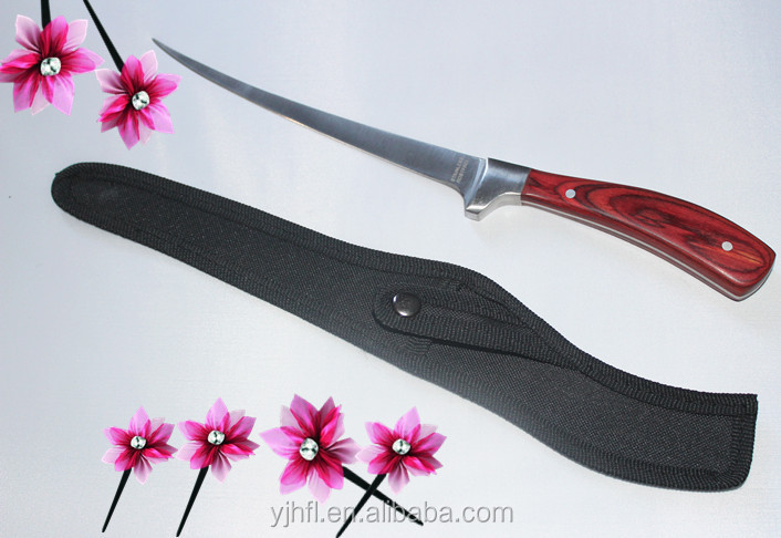 """Wholesale fillet knife stainless steel wooden handle insulation handle 7"""" blade knife with nylon sheath fish cutter"""