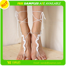 High quality fashion bridal barefoot sandals cotton crochet snake shape hotwife anklets