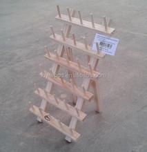 alta qualidade de madeira inacabada linha rack para o bordado e costura de linha