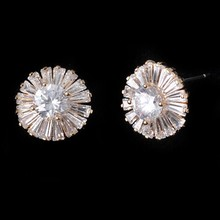 Big CZ Micro Pave Gold Rhodium Plated Round Stud Earring Wedding Earring